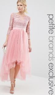 Chi Chi Petite , Chi  London Petite Premium Metallic Lace Midi Prom Dress With Tulle Skirt Dusty Rose