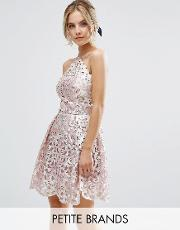 Chi Chi Petite , Cutwork Detail Prom Dress With Foil