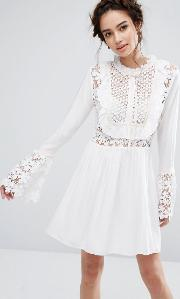 Endless Rose , Bell Sleeve Dress With Tied Ribbon Off White