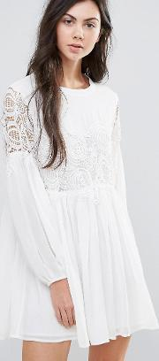 Endless Rose , Long Sleeve Skater Dress With Lace Detail White