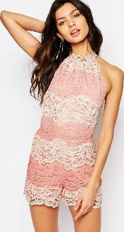Foxiedox , Bella Panelled Lace Playsuit Mona Rose