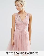 Little Mistress Petite , Full Prom Tulle Mini Dress With Lace Applique Rose
