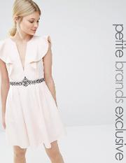 Little Mistress Petite , Plunge Front Frill Skater With Embellished Waist Nude