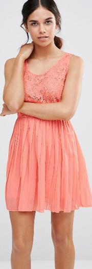 Pussycat London , Dress With Lace Top And Pleated Skirt Peach