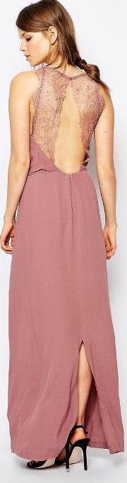 Samse & Samse , Samsoe &  Willow Maxi Dress With Lace Insert Twighlight Mauve