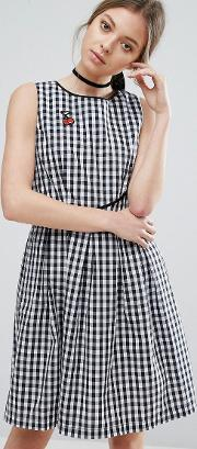 Trollied Dolly , Gingham Skater Dress With Cherry Badge Black & White