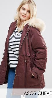Asos Curve , Ultimate Parka Berry