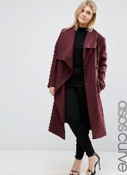 Asos Curve , Waterfall Trapeze Coat Berry
