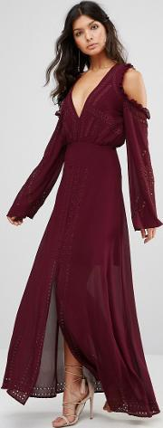 Foxiedox , Cold Shoulder Lace Up Maxi Burgundy