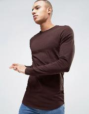 Asos , Longline Muscle  Sleeve T Shirt With Curved Hem  Oxblood