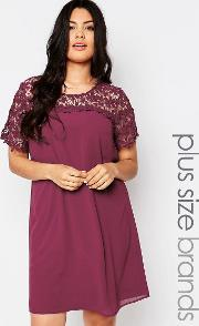 Lovedrobe , Plus Swing Dress With Lace Top Berry