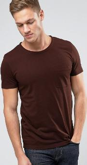 Selected Homme , T Shirt In Marl With Pocket Rum Raisin