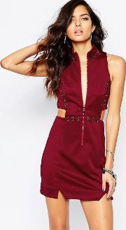 The Laden Showroom , X Rok & Rebelle Mini Dress With Eyelet And Jumpring Detail Wine