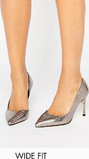 Faith Wide Fit , Chloe Pewter Metallic Court Shoes