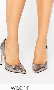 Faith Wide Fit , Cliff Pewter Metallic Cut Out Court Shoes