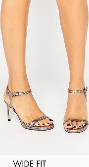Faith Wide Fit , Dolly Pewter Metallic Barely There Heeled Sandals