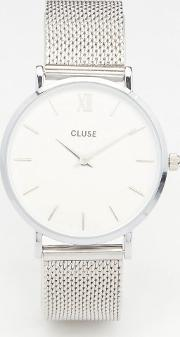 Cluse , Minuit Silver Mesh Watch Cl30009