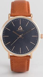 Asos , Watch With Classic Face And Leather Strap Brown