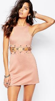 The Laden Showroom , X Rok & Rebelle Mini Dress With Lace Up Detail Nude