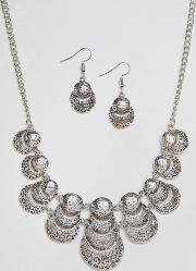 Ruby Rocks , Necklace And Earring Set Silver