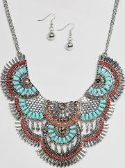 Ruby Rocks , Statement Festival Necklace And Earring Set Multi