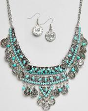 Ruby Rocks , Coin Detail Necklace And Earring Set