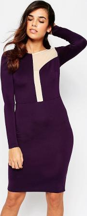 Amy Childs , Camilla Midi Dress With Asymetric Mesh Panel Detail Purple