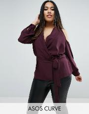 Asos Curve , Wrap Blouse With Shawl Collar And Cold Shoulder Mulberry