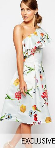 True Violet , Sateen Prom Dress With Ruffle Shoulder Blue Floral