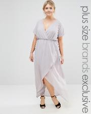 Truly You , Wrap Maxi Dress With Ruffle Detail Grey