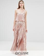 True Violet , Pleated 2 In 1 Maxi Dress Rose Gold