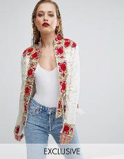 A Star Is Born , Rose Embroidered Trophy Jacket With Fringe