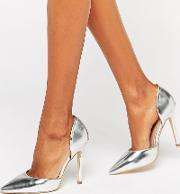 Public Desire , Keely Clear Detail Silver Court Shoes