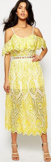 Foxiedox , Quinn Lace Overlay Dress Chartreuse