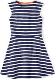 Johnnie  B , Ailsa Dress Navy Ecru Stripe