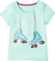 Johnnie  B , Embellished Graphic T Shirt Menthe Skates