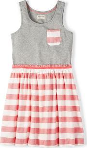 Johnnie  B , Maya Dress Grey Marl Stripe Coral Zig Zag