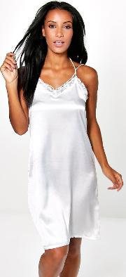 Boohoo , Lace Trim Babydoll With Skinny Straps Cream