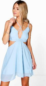 Boohoo , Strappy Plunge Front Open Back Skater Dress Blue