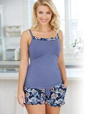 Bravissimo , Printed Panel Cami Top In Ice Blue