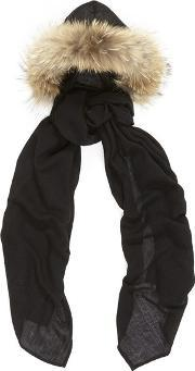Charlotte Simone , Women's Fur Lined Hooded Scarf Blackbeige Fur Trim