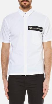 Versus Versace , Men's Zip Pocket Detail Short Sleeve Shirt Optical White Seu 48