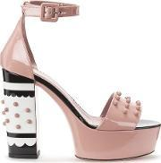 Redvalentino , Women's Studded Heeled Sandals Nude Uk 6