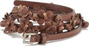Redvalentino , Women's Floral Leather Belt Tan