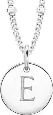 Missoma , Women's Initial Charm Necklace E Silver