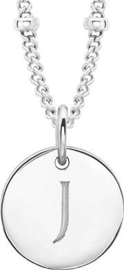 Missoma , Women's Initial Charm Necklace J Silver