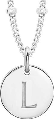 Missoma , Women's Initial Charm Necklace L Silver