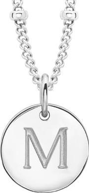 Missoma , Women's Initial Charm Necklace M Silver
