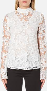 Perseverance , Women's 3d Embroidered Paisley Top Bell Sleeves And High Collar White Uk 10