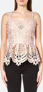Perseverance , Women's Baroque Guipure Lace Double Strap Cami Dusty Pink Uk 10